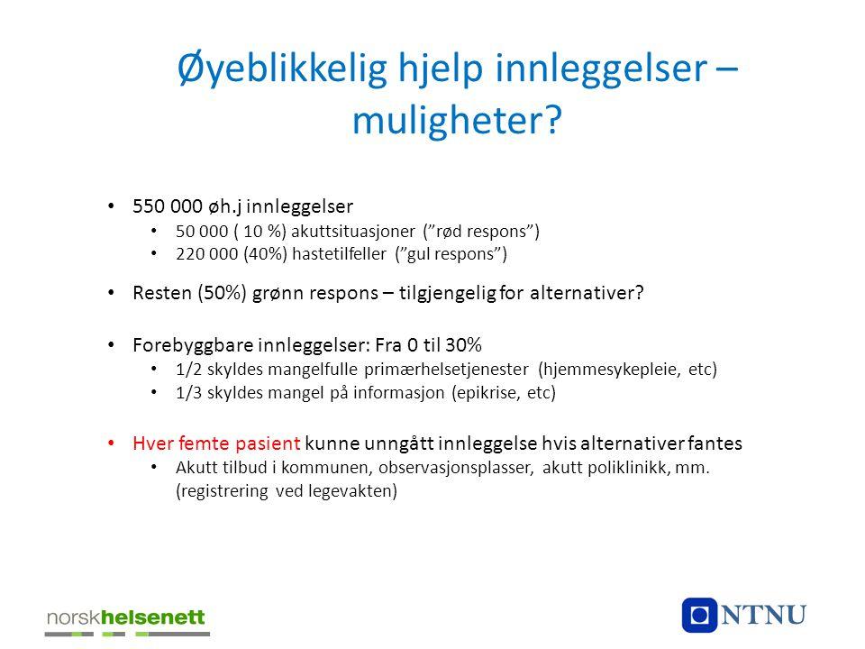 """Øyeblikkelig hjelp innleggelser – muligheter? • 550 000 øh.j innleggelser • 50 000 ( 10 %) akuttsituasjoner (""""rød respons"""") • 220 000 (40%) hastetilfe"""