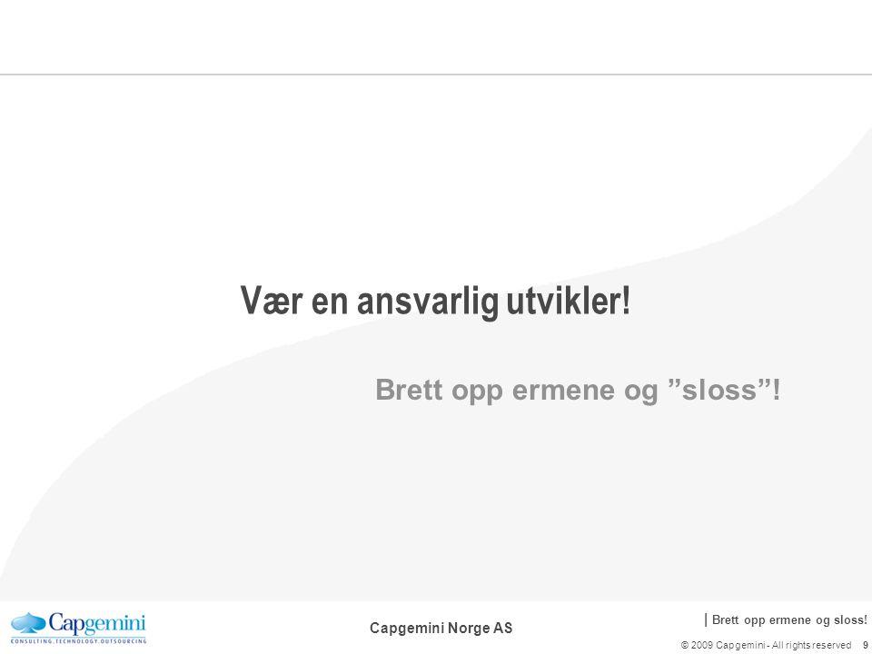 | Brett opp ermene og sloss. Capgemini Norge AS Vær en ansvarlig utvikler.