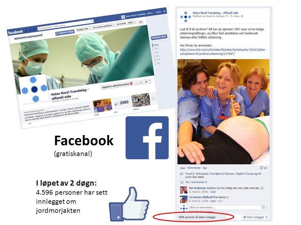 Facebook (gratiskanal) I løpet av 2 døgn: 4.596 personer har sett innlegget om jordmorjakten