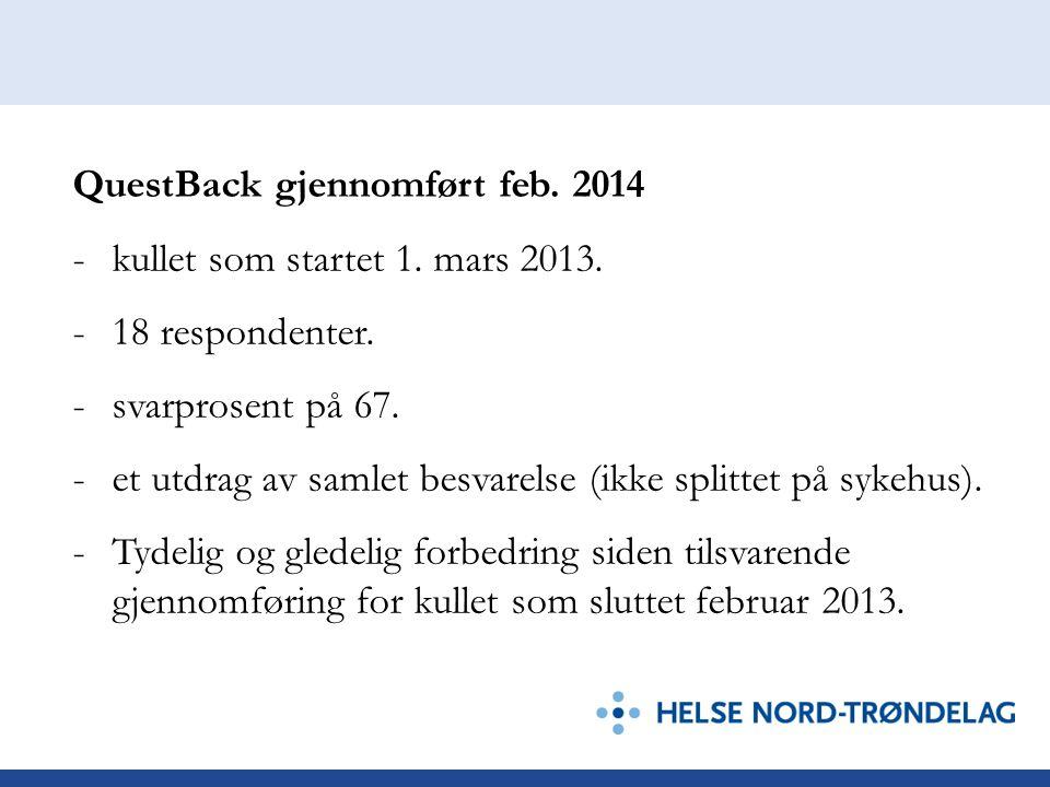 QuestBack gjennomført feb. 2014 -kullet som startet 1. mars 2013. -18 respondenter. -svarprosent på 67. -et utdrag av samlet besvarelse (ikke splittet