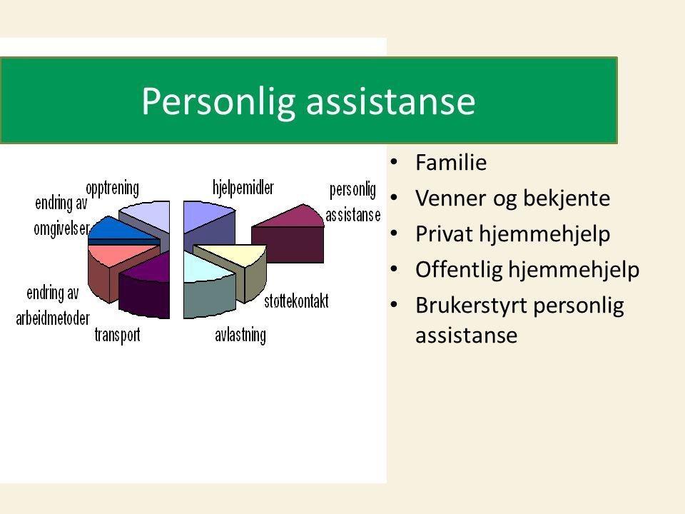Personlig assistanse • Familie • Venner og bekjente • Privat hjemmehjelp • Offentlig hjemmehjelp • Brukerstyrt personlig assistanse