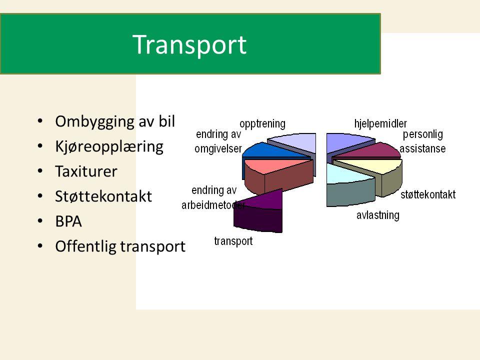 Transport • Ombygging av bil • Kjøreopplæring • Taxiturer • Støttekontakt • BPA • Offentlig transport