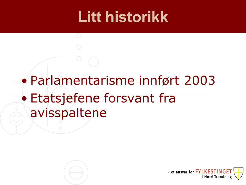 Litt historikk •Parlamentarisme innført 2003 •Etatsjefene forsvant fra avisspaltene