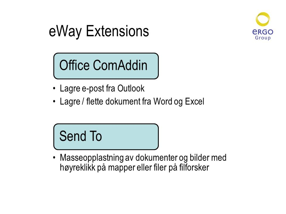 eWay Extensions Office ComAddin •Lagre e-post fra Outlook •Lagre / flette dokument fra Word og Excel Send To •Masseopplastning av dokumenter og bilder