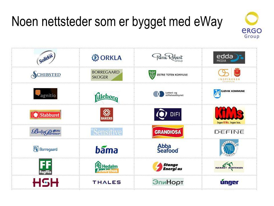 Flere nettsteder som er bygget med eWay
