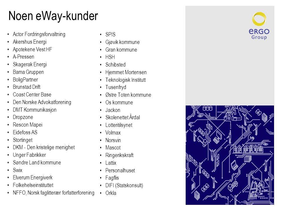 Noen eWay-kunder •Actor Fordringsforvaltning •Akershus Energi •Apotekene Vest HF •A-Pressen •Skagerak Energi •Bama Gruppen •BoligPartner •Brunstad Dri