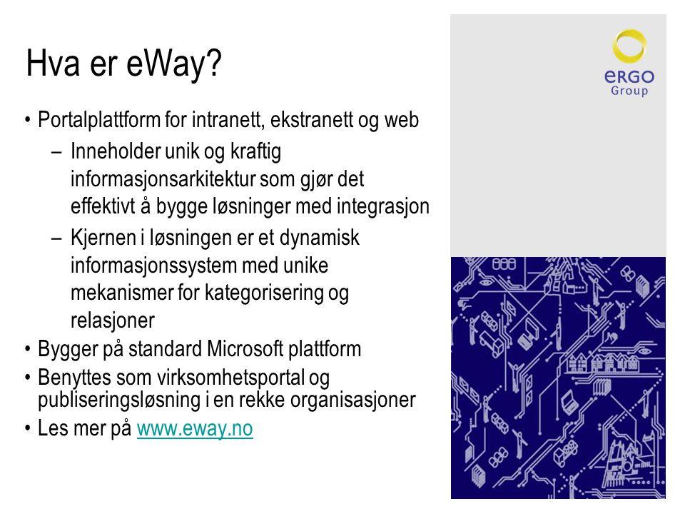 Hva er eWay? •Portalplattform for intranett, ekstranett og web –Inneholder unik og kraftig informasjonsarkitektur som gjør det effektivt å bygge løsni