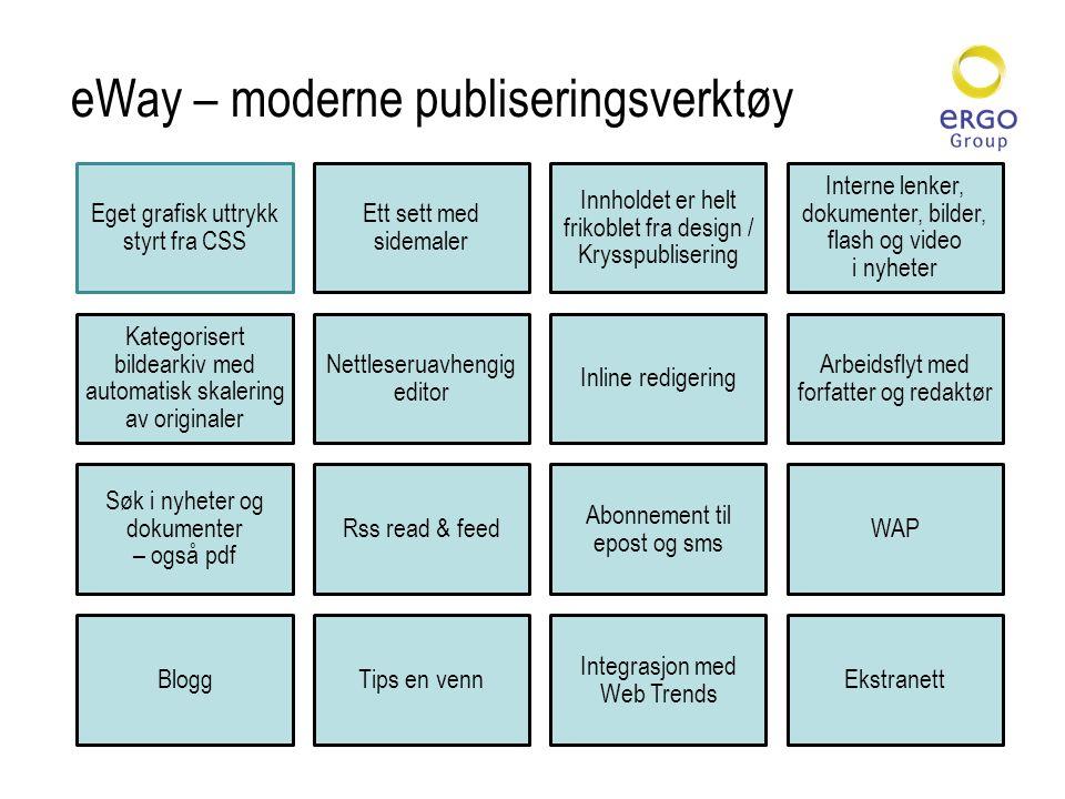 eWay – moderne publiseringsverktøy Eget grafisk uttrykk styrt fra CSS Ett sett med sidemaler Innholdet er helt frikoblet fra design / Krysspublisering