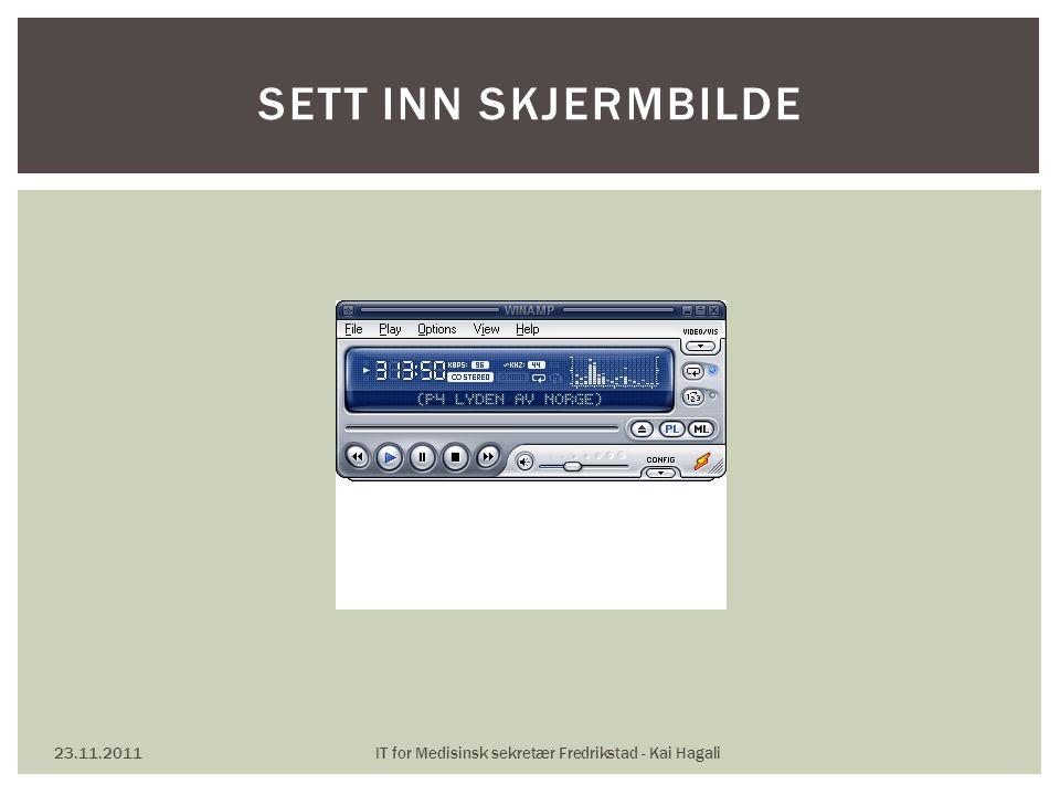 23.11.2011IT for Medisinsk sekretær Fredrikstad - Kai Hagali SETT INN SKJERMBILDE