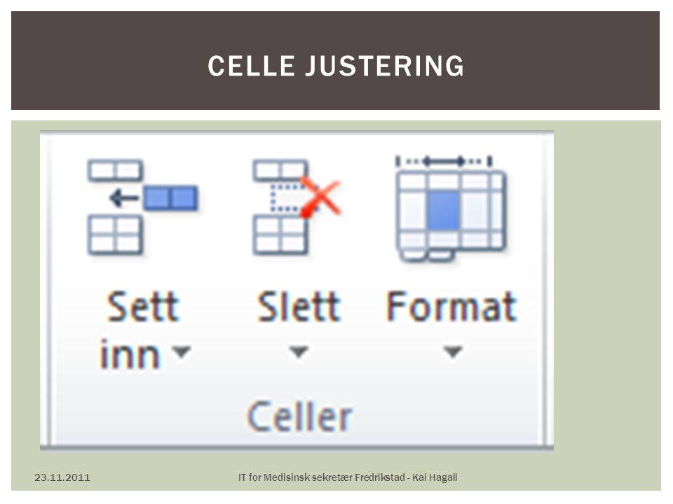 23.11.2011IT for Medisinsk sekretær Fredrikstad - Kai Hagali CELLE JUSTERING
