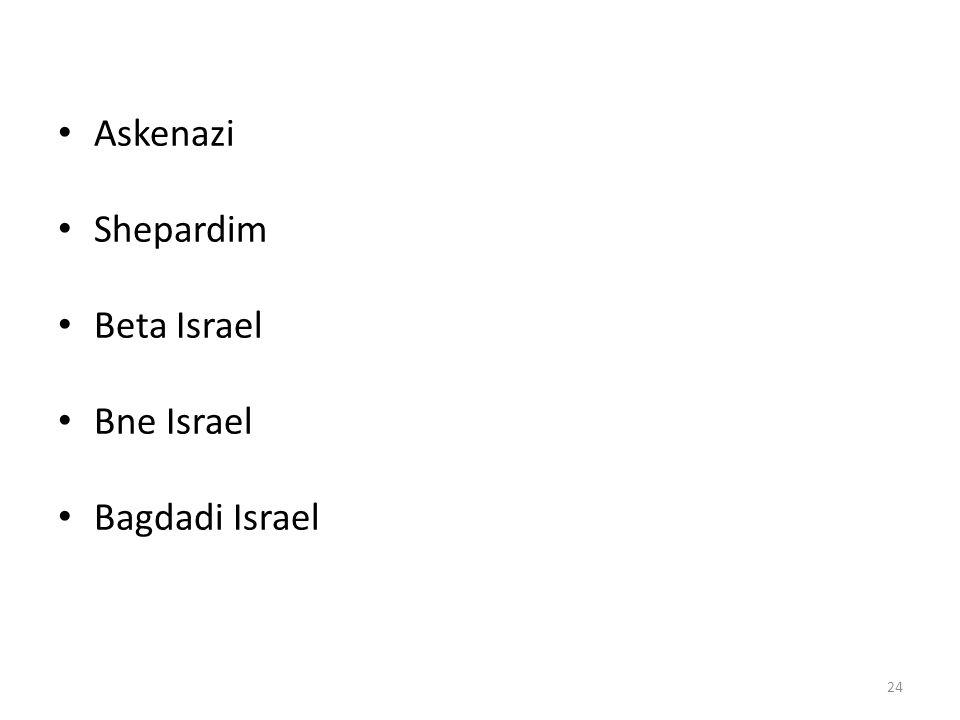 • Askenazi • Shepardim • Beta Israel • Bne Israel • Bagdadi Israel 24