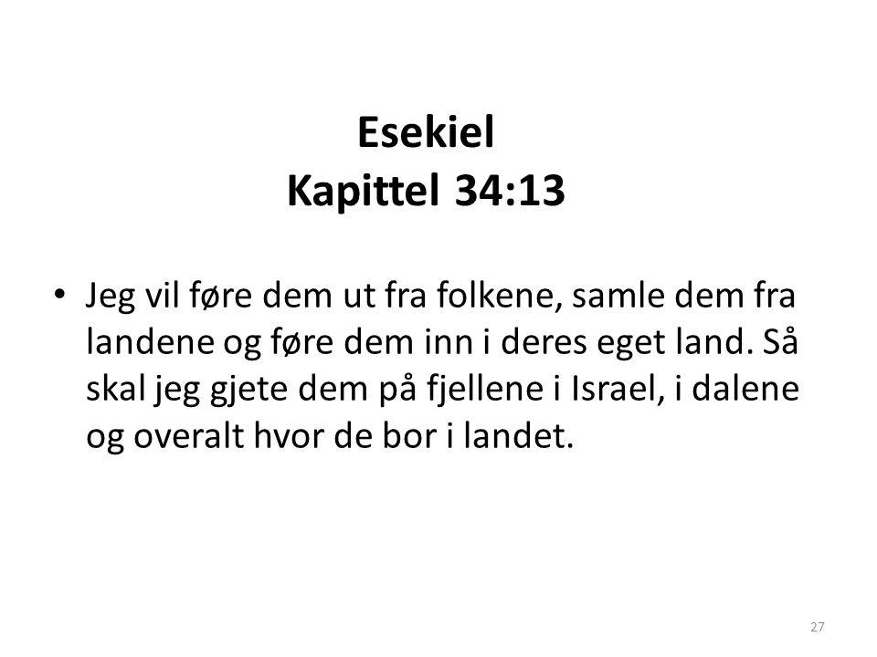 Esekiel Kapittel 34:13 • Jeg vil føre dem ut fra folkene, samle dem fra landene og føre dem inn i deres eget land. Så skal jeg gjete dem på fjellene i