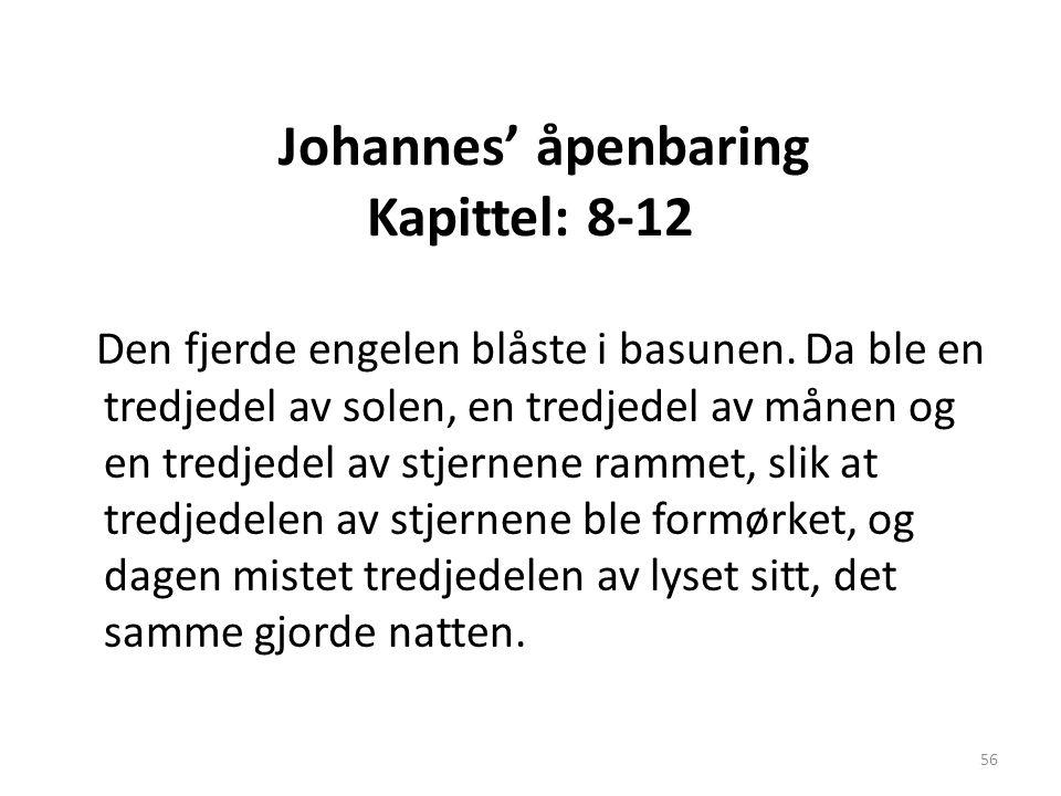 Johannes' åpenbaring Kapittel: 8-12 Den fjerde engelen blåste i basunen. Da ble en tredjedel av solen, en tredjedel av månen og en tredjedel av stjern