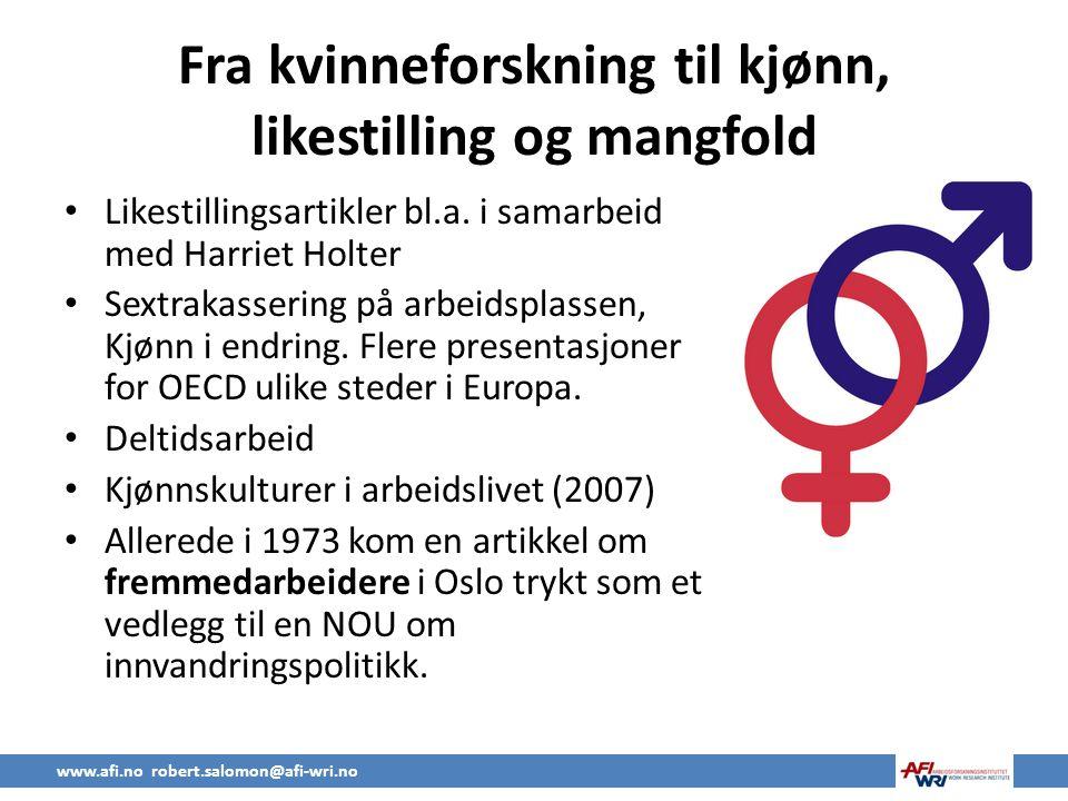 Fra kvinneforskning til kjønn, likestilling og mangfold • Likestillingsartikler bl.a.
