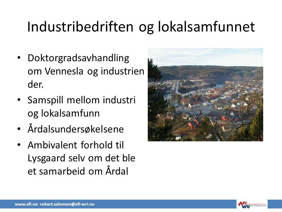 Industribedriften og lokalsamfunnet • Doktorgradsavhandling om Vennesla og industrien der.