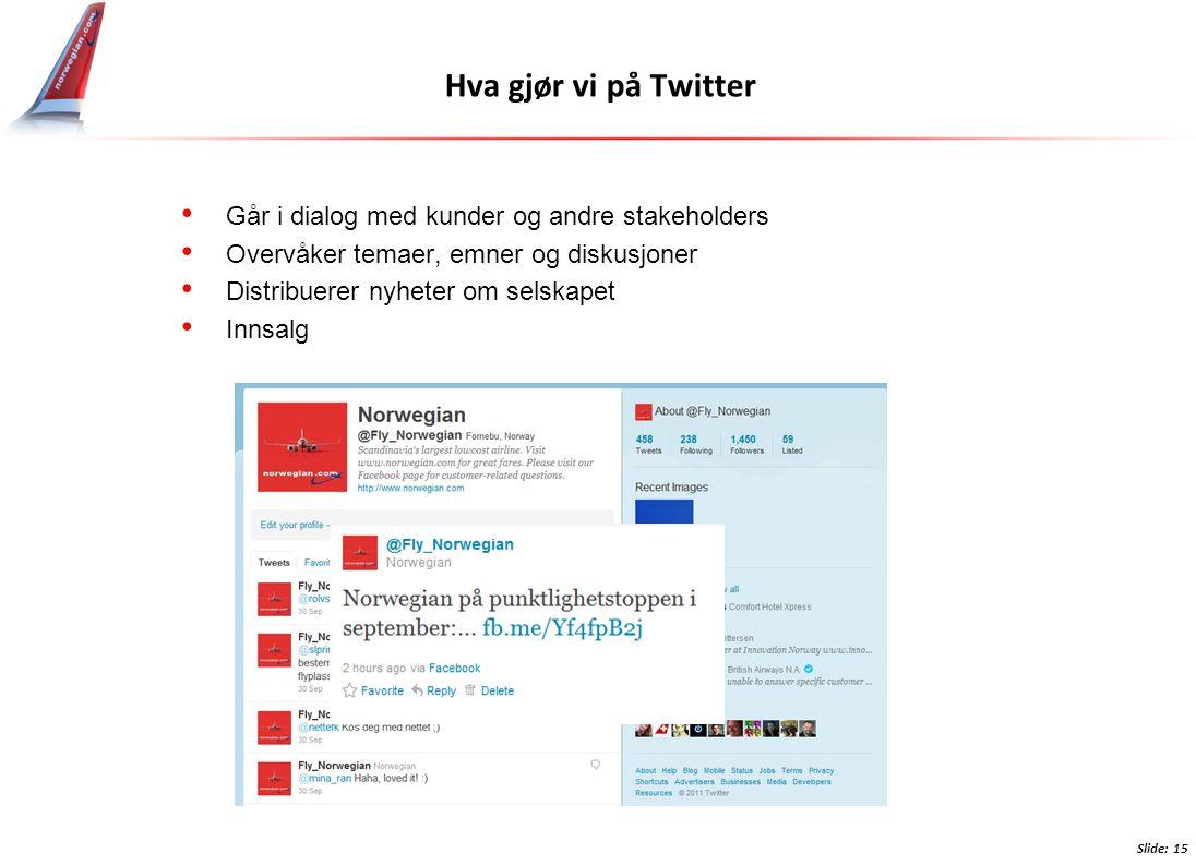 Hva gjør vi på Twitter • Går i dialog med kunder og andre stakeholders • Overvåker temaer, emner og diskusjoner • Distribuerer nyheter om selskapet • Innsalg Slide: 15