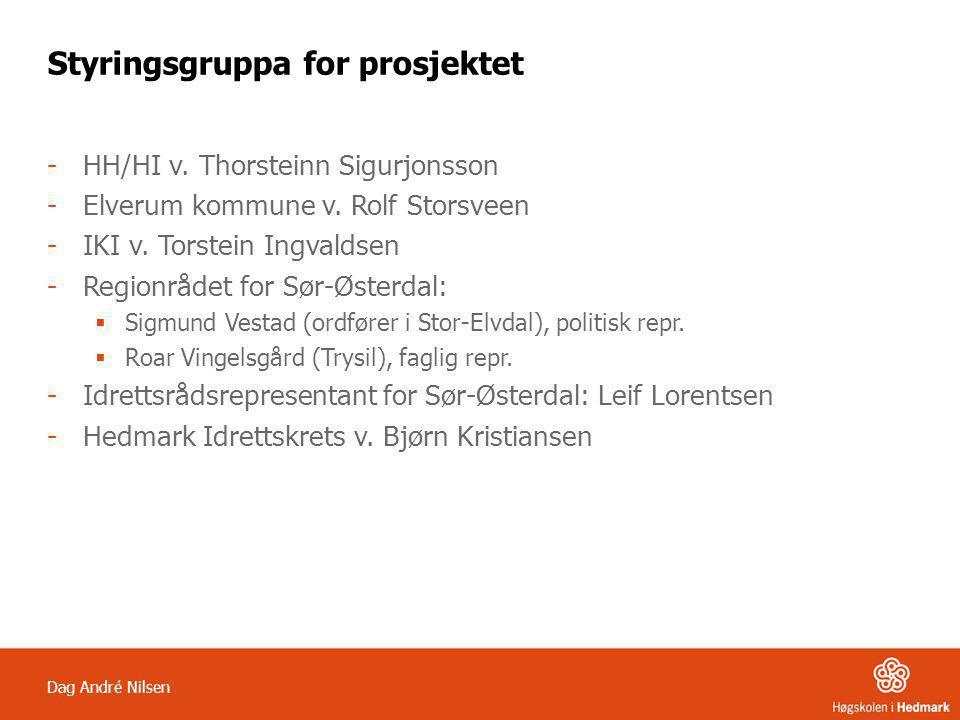 Dag André Nilsen Styringsgruppa for prosjektet -HH/HI v. Thorsteinn Sigurjonsson -Elverum kommune v. Rolf Storsveen -IKI v. Torstein Ingvaldsen -Regio