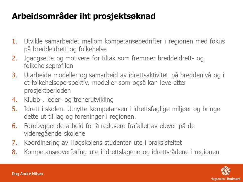 Dag André Nilsen Arbeidsområder iht prosjektsøknad 1.Utvikle samarbeidet mellom kompetansebedrifter i regionen med fokus på breddeidrett og folkehelse