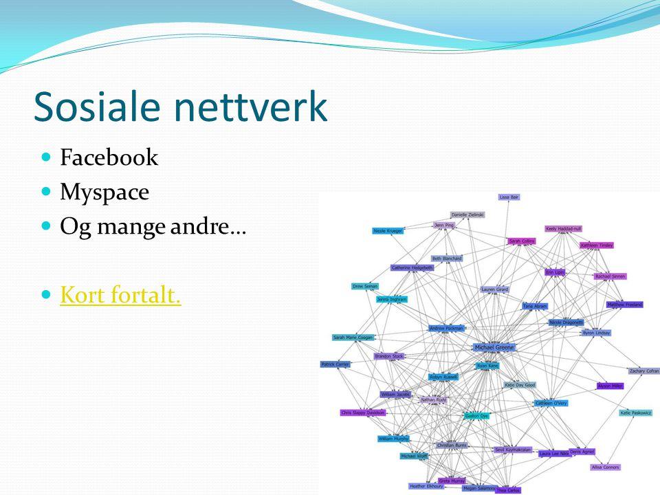 Sosiale nettverk  Facebook  Myspace  Og mange andre…  Kort fortalt. Kort fortalt.