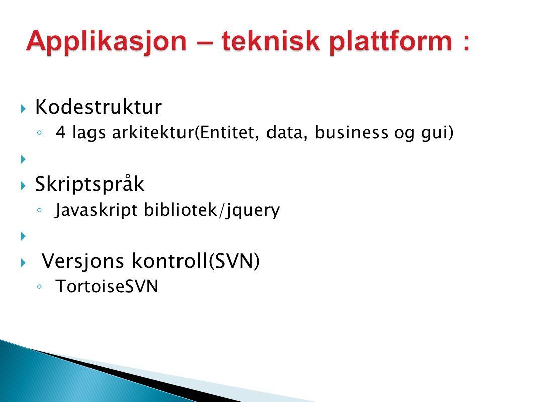  Kodestruktur ◦ 4 lags arkitektur(Entitet, data, business og gui)   Skriptspråk ◦ Javaskript bibliotek/jquery   Versjons kontroll(SVN) ◦ TortoiseSVN