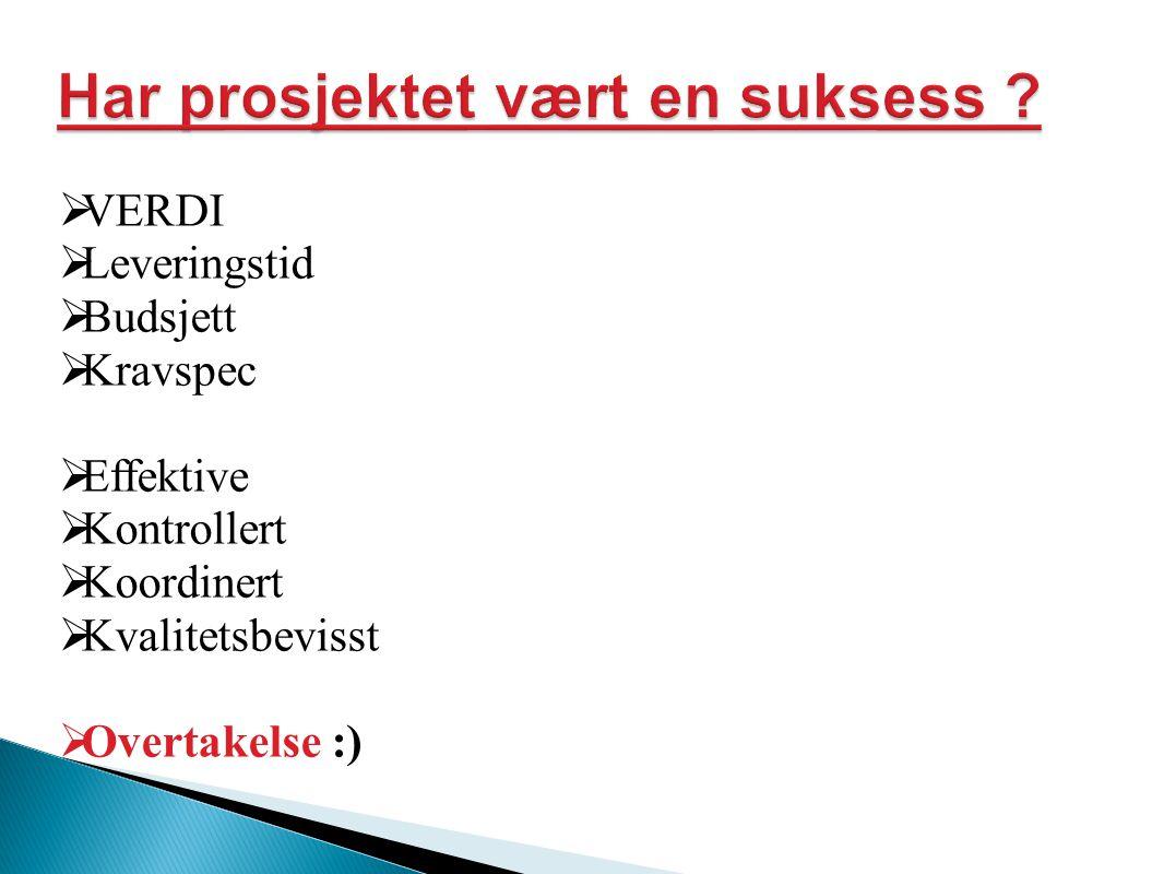  VERDI  Leveringstid  Budsjett  Kravspec  Effektive  Kontrollert  Koordinert  Kvalitetsbevisst  Overtakelse :)