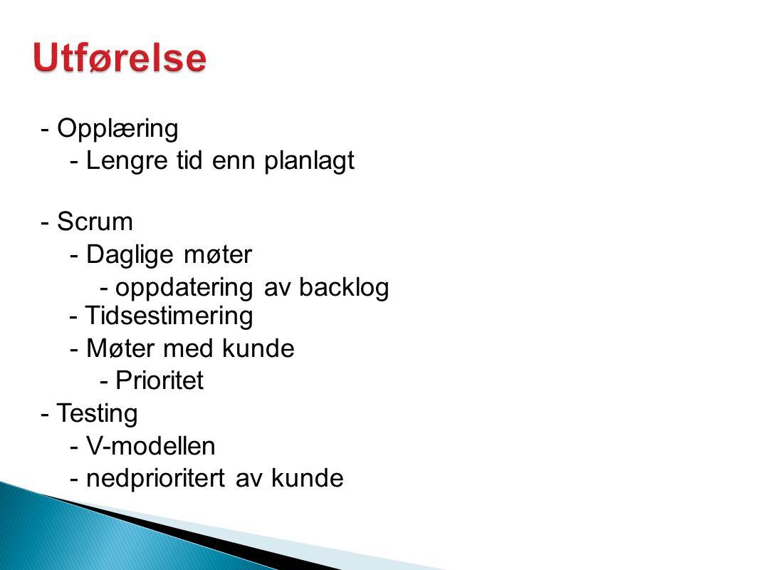 - Opplæring - Lengre tid enn planlagt - Scrum - Daglige møter - oppdatering av backlog - Tidsestimering - Møter med kunde - Prioritet - Testing - V-modellen - nedprioritert av kunde