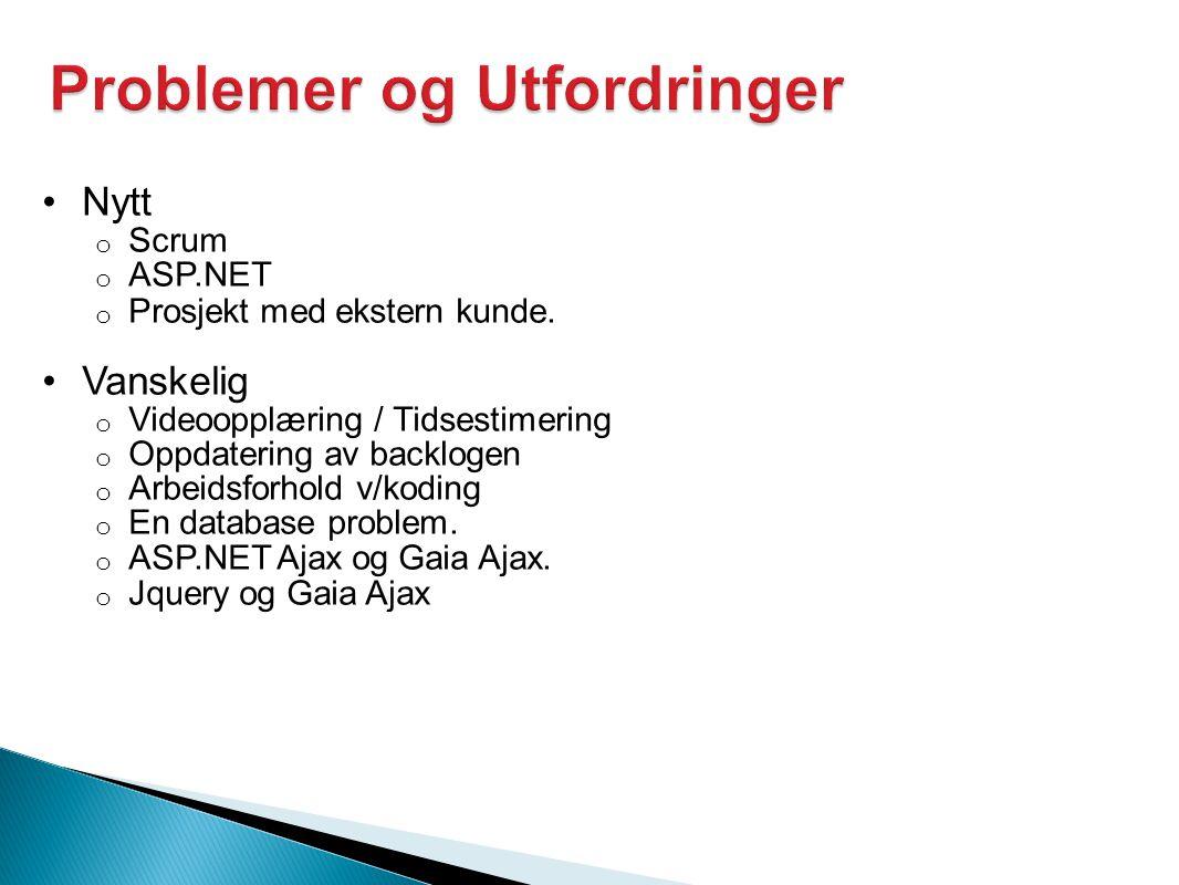 •Nytt o Scrum o ASP.NET o Prosjekt med ekstern kunde.