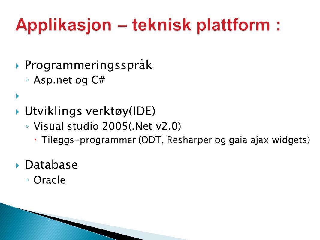  Programmeringsspråk ◦ Asp.net og C#   Utviklings verktøy(IDE) ◦ Visual studio 2005(.Net v2.0)  Tileggs-programmer (ODT, Resharper og gaia ajax widgets)  Database ◦ Oracle