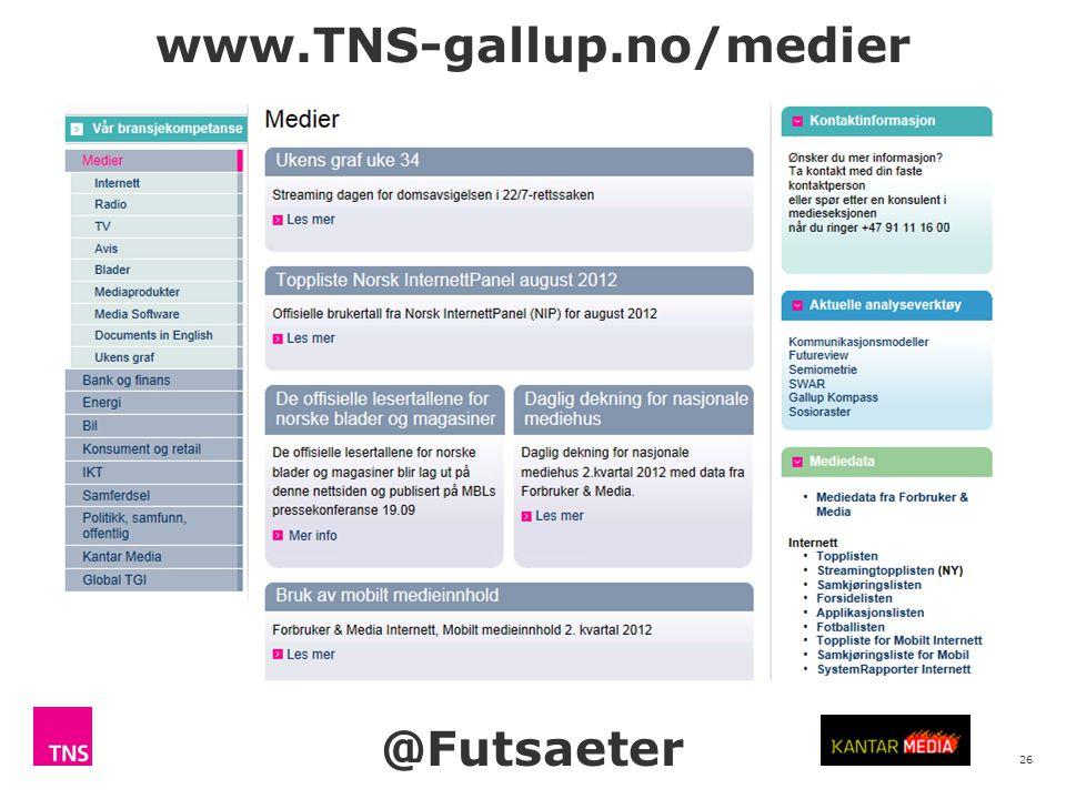 26 www.TNS-gallup.no/medier @Futsaeter