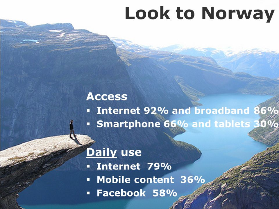 3 Access  Internet 92% and broadband 86%  Smartphone 66% and tablets 30% Daily use  Internet 79%  Mobile content 36%  Facebook 58% Look to Norway