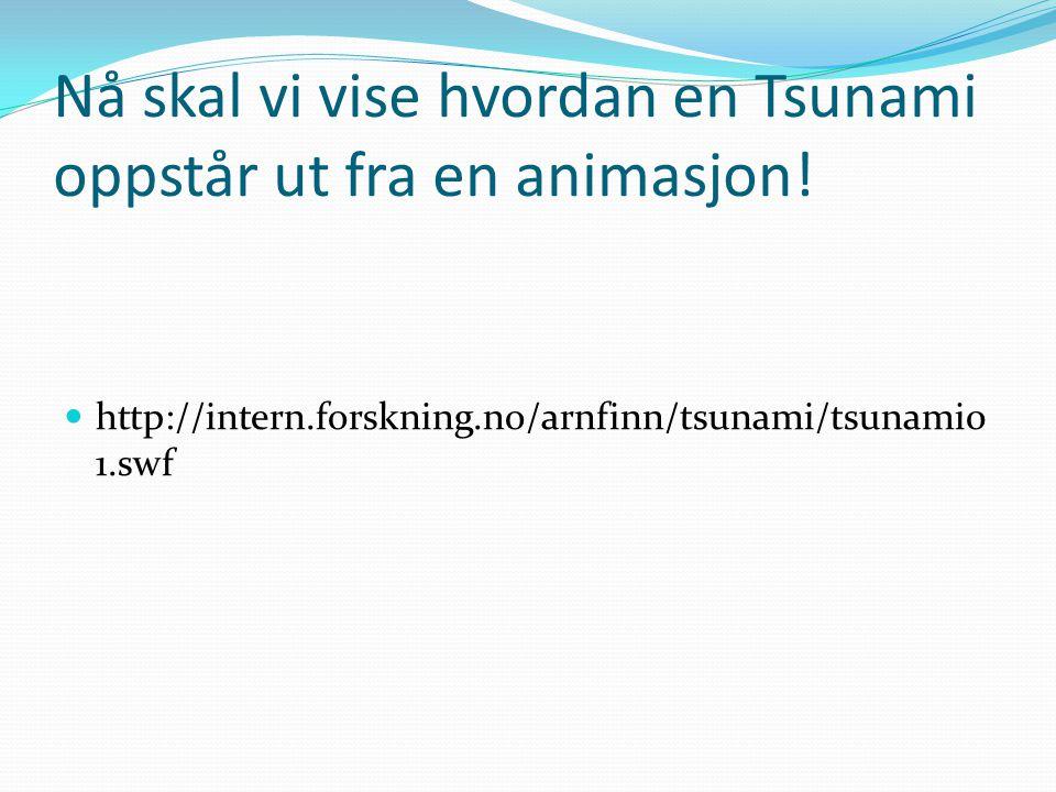 Nå skal vi vise hvordan en Tsunami oppstår ut fra en animasjon!  http://intern.forskning.no/arnfinn/tsunami/tsunami0 1.swf