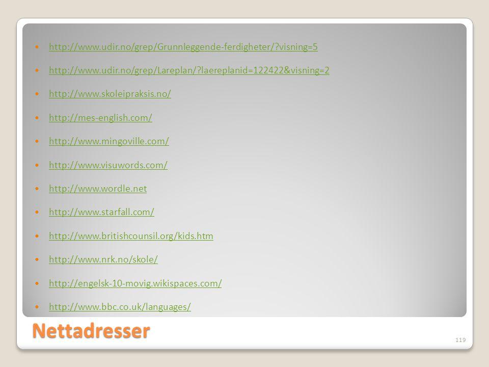 Nettadresser  http://www.udir.no/grep/Grunnleggende-ferdigheter/?visning=5 http://www.udir.no/grep/Grunnleggende-ferdigheter/?visning=5  http://www.