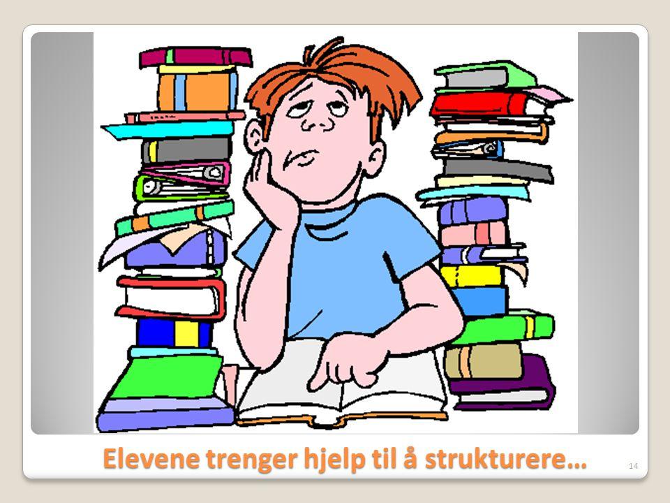 Elevene trenger hjelp til å strukturere… Elevene trenger hjelp til å strukturere… 14