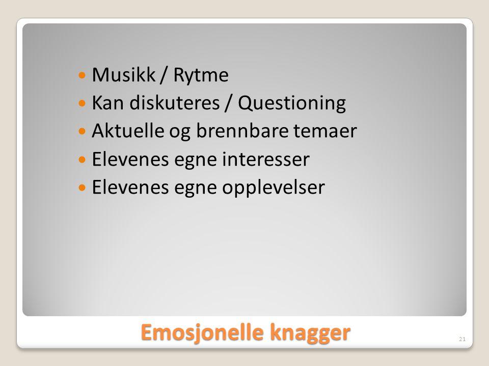 Emosjonelle knagger  Musikk / Rytme  Kan diskuteres / Questioning  Aktuelle og brennbare temaer  Elevenes egne interesser  Elevenes egne opplevel