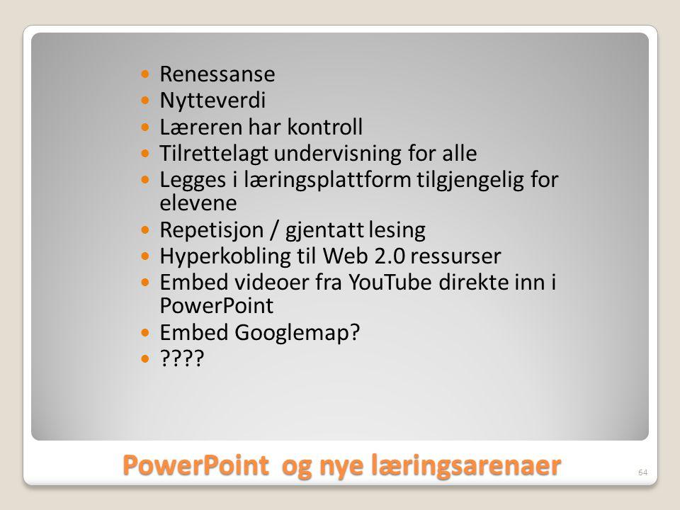 PowerPoint og nye læringsarenaer  Renessanse  Nytteverdi  Læreren har kontroll  Tilrettelagt undervisning for alle  Legges i læringsplattform til