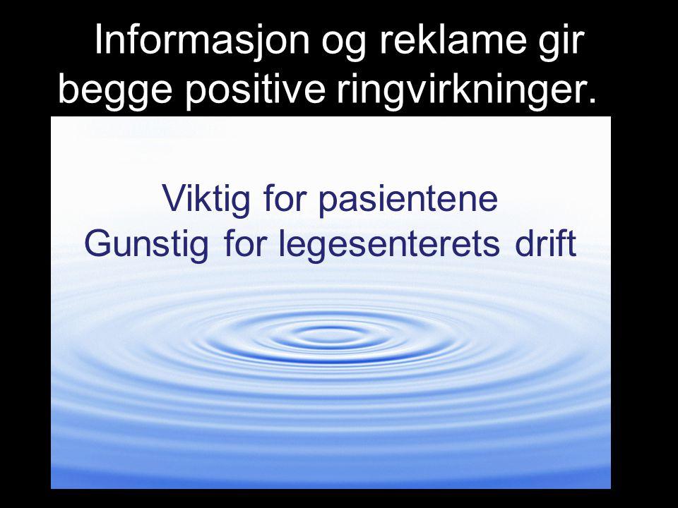 Informasjon og reklame gir begge positive ringvirkninger.n Viktig for pasientene Gunstig for legesenterets drift