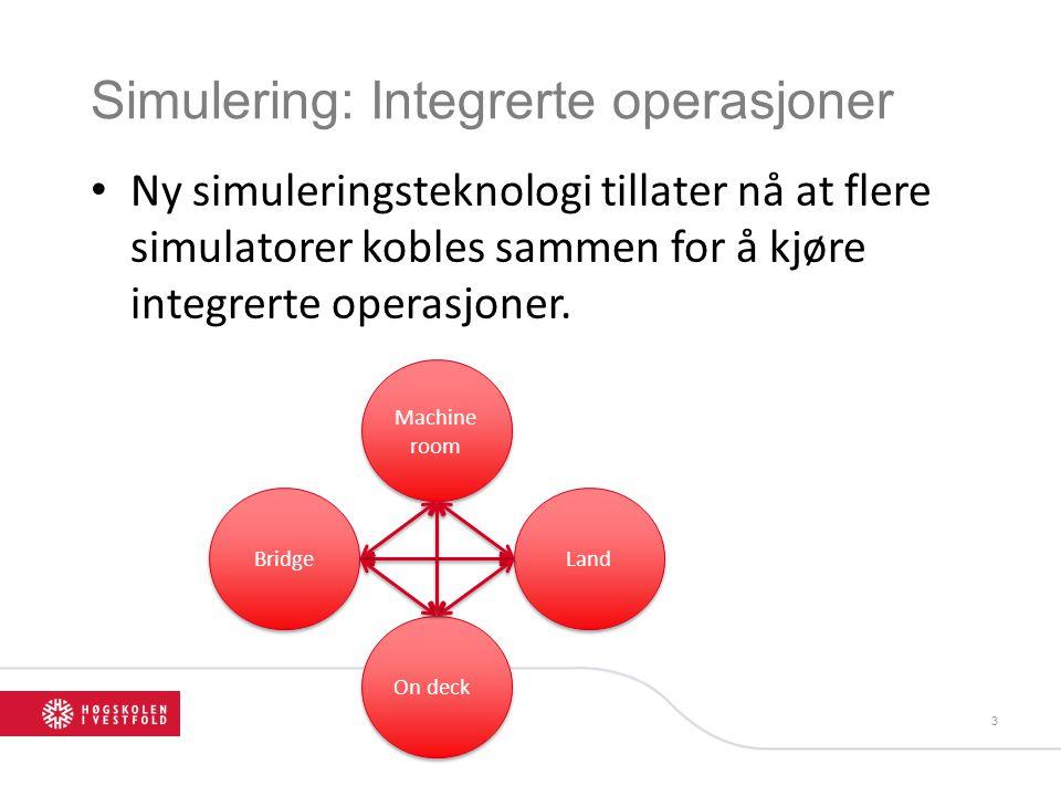 Simulering: Integrerte operasjoner • Ny simuleringsteknologi tillater nå at flere simulatorer kobles sammen for å kjøre integrerte operasjoner.