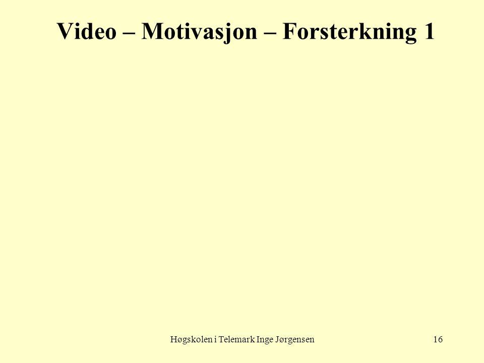 Høgskolen i Telemark Inge Jørgensen16 Video – Motivasjon – Forsterkning 1