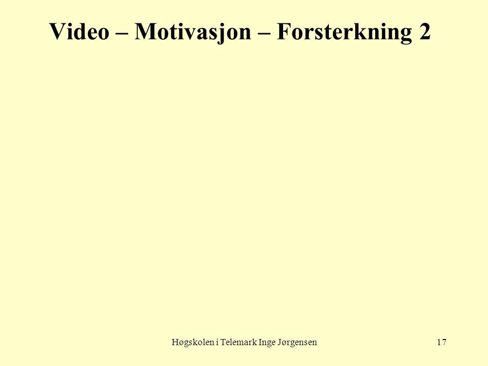 Høgskolen i Telemark Inge Jørgensen17 Video – Motivasjon – Forsterkning 2