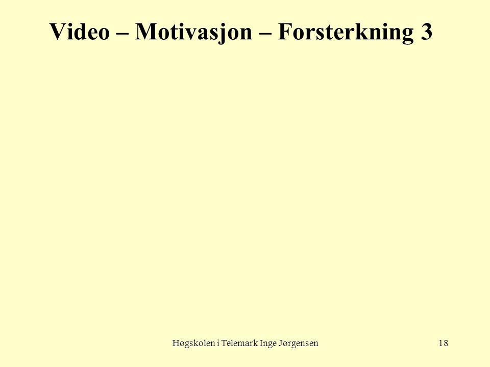 Høgskolen i Telemark Inge Jørgensen18 Video – Motivasjon – Forsterkning 3