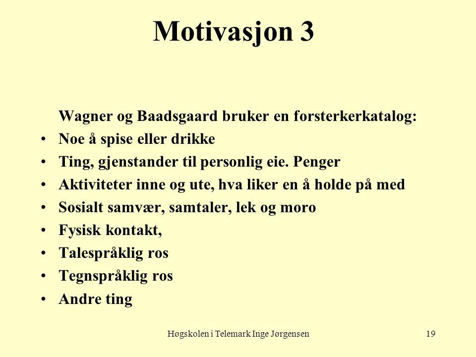 Høgskolen i Telemark Inge Jørgensen19 Motivasjon 3 Wagner og Baadsgaard bruker en forsterkerkatalog: •Noe å spise eller drikke •Ting, gjenstander til