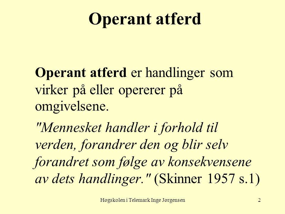 Høgskolen i Telemark Inge Jørgensen3 Respondent atferd Respondent atferd (reflekser) er reaksjoner som direkte utløses av enkle ting eller hendelser i miljøet (eks.
