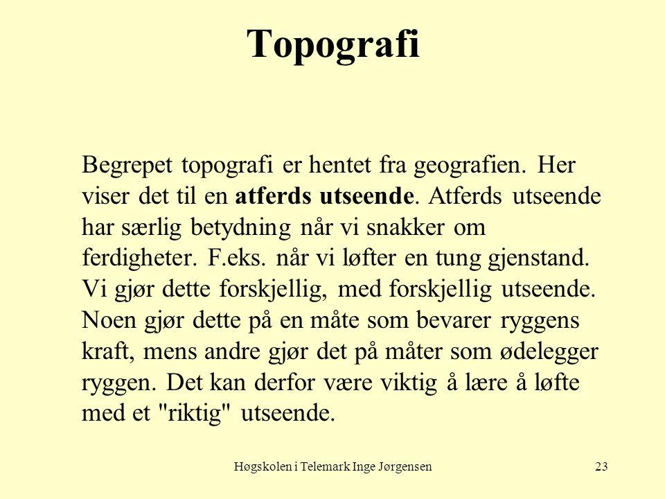 Høgskolen i Telemark Inge Jørgensen23 Topografi Begrepet topografi er hentet fra geografien. Her viser det til en atferds utseende. Atferds utseende h