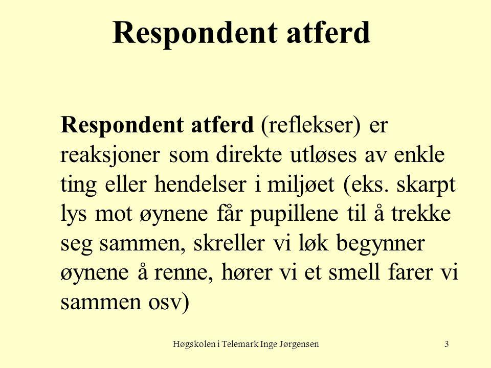 Høgskolen i Telemark Inge Jørgensen3 Respondent atferd Respondent atferd (reflekser) er reaksjoner som direkte utløses av enkle ting eller hendelser i