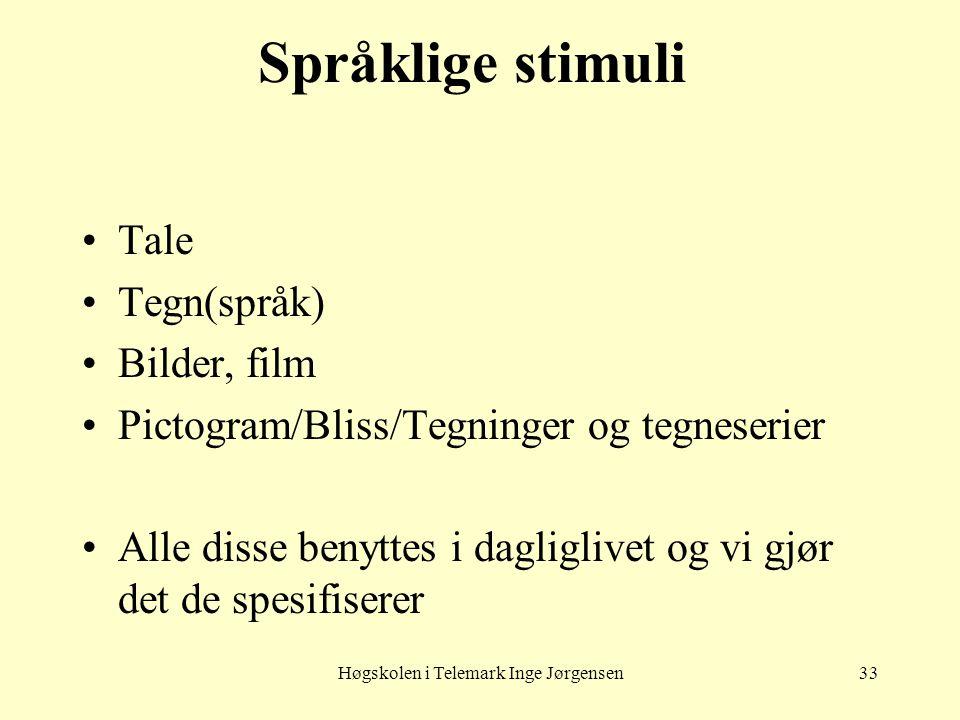 Høgskolen i Telemark Inge Jørgensen33 Språklige stimuli •Tale •Tegn(språk) •Bilder, film •Pictogram/Bliss/Tegninger og tegneserier •Alle disse benytte