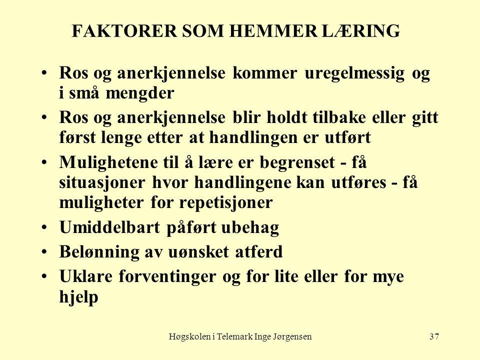 Høgskolen i Telemark Inge Jørgensen37 FAKTORER SOM HEMMER LÆRING •Ros og anerkjennelse kommer uregelmessig og i små mengder •Ros og anerkjennelse blir