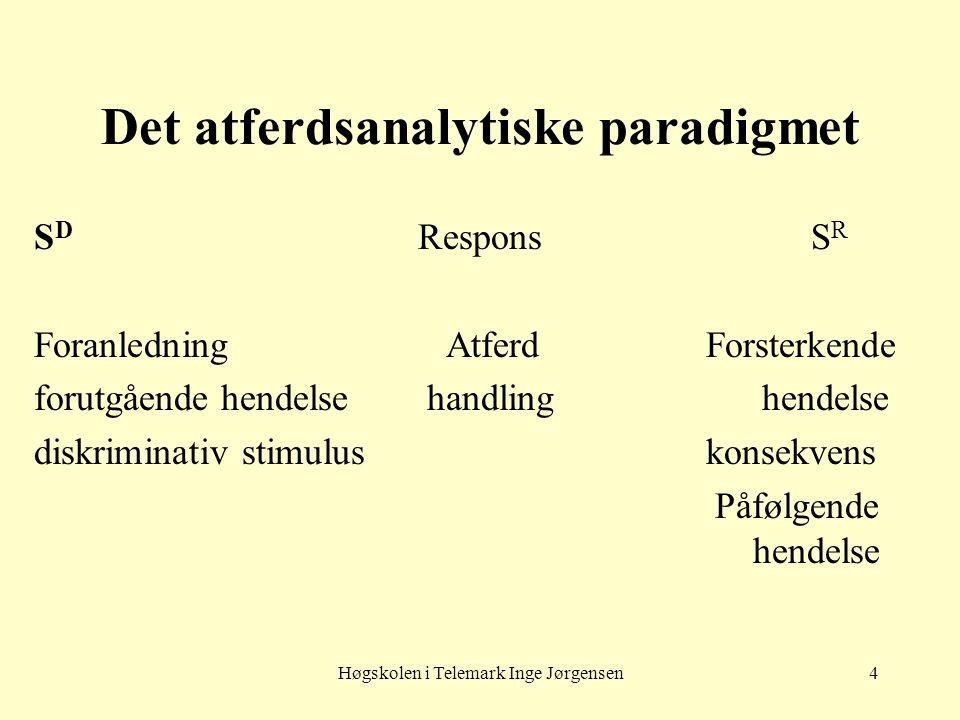 Høgskolen i Telemark Inge Jørgensen4 Det atferdsanalytiske paradigmet S D Respons S R Foranledning AtferdForsterkende forutgående hendelse handling he