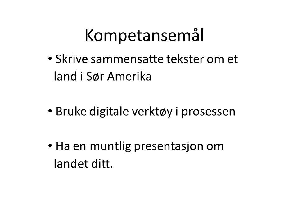 Kompetansemål • Skrive sammensatte tekster om et land i Sør Amerika • Bruke digitale verktøy i prosessen • Ha en muntlig presentasjon om landet ditt.