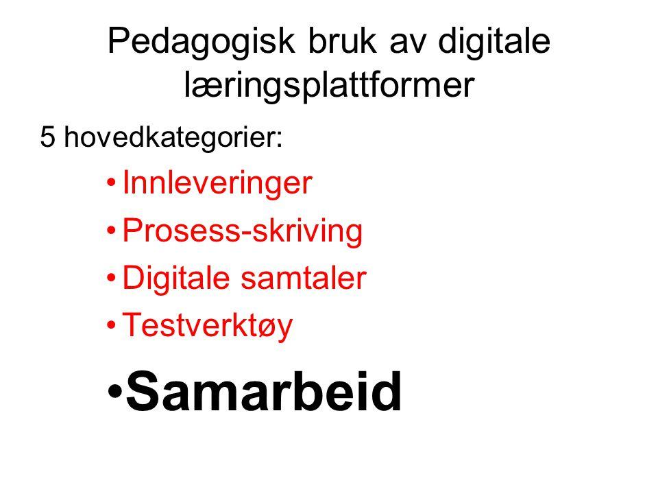 Pedagogisk bruk av digitale læringsplattformer 5 hovedkategorier: •Innleveringer •Prosess-skriving •Digitale samtaler •Testverktøy •Samarbeid