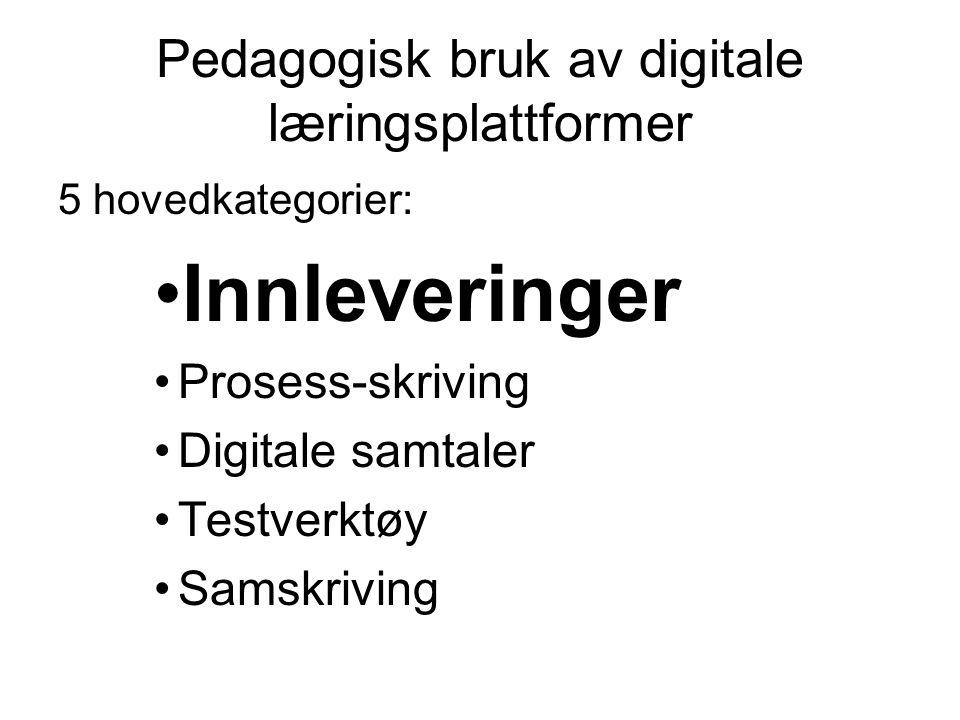 Pedagogisk bruk av digitale læringsplattformer 5 hovedkategorier: •Innleveringer •Prosess-skriving •Digitale samtaler •Testverktøy •Samskriving